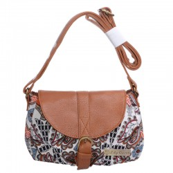 Retro Dumplings Type Printing Canvas Solid PU Leather Shoulder Bag Diagonal Package