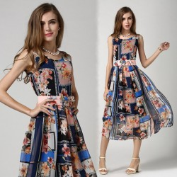 Summer New Personalized Fashion Sleeveless Printed Chiffon Dress