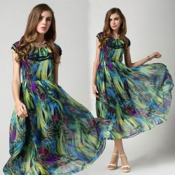 Colorful Retro Fashion Malachite Green Chiffon Dress