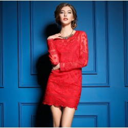 Sexy Ladies Elegant Embroidery Mesh Long-sleeved Dress