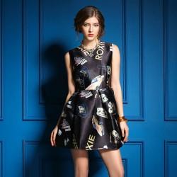 Sweet Style Spring Car Print Sleeveless Dress