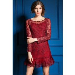 New Season Sexy Mesh Embroidered Hollow Out Dress