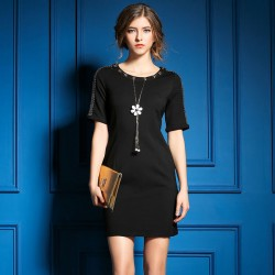 Casual Stylish Beaded Pendant Shoulders Slim Dress