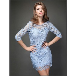 Elegant Flower Nail Beaded Lace Package Hip Slim Sleeve Dress