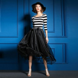 Fashion Black And White Striped Stitching Gauze Dress
