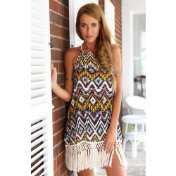 Fashion ZigZag Tassels Sexy Halter Dress