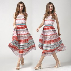 Summer Color Stripe Chiffon Bohemian Dress