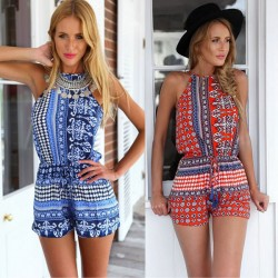 Slim Sexy Printing Halter One Piece Sleeveless Jumpsuit&Romper