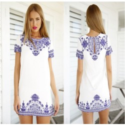 Blue and White Printing Round Neck Fashion Dress