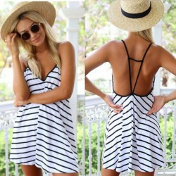 Sexy Black And White Stripes Loose V-neck Halter Dress