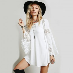 Fashion Lace Stitching Chiffon Loose Hollow Long Trumpet Sleeves Dress
