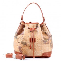 Casual Retro World Map Bucket Handbag Messenger Bag Shoulder Bag
