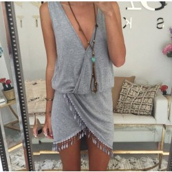 Sexy Irregular Tassels Hem Deep V-neck Sleeveless Dress