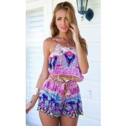 Folk Printing Braces Floral One Piece Romper&Jumpsuit