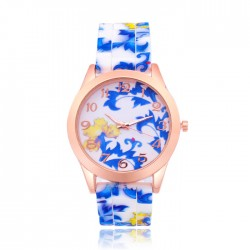 Chinese Blue And White Porcelain Pattern Floral Silicone Watch