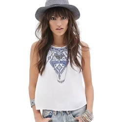 Folk Embroidered Geometry Totem Sleeveless Back Button Round Neck Vest