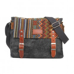 Folk Style Geometry Stripe Square Double Hasp Canvas Messenger Bag Shoulder Bag