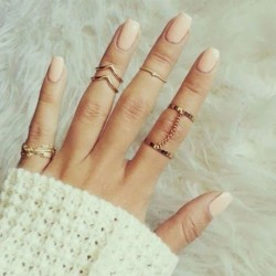 Fashion Leaves Diamond One Set Six Ring Chain Irregular Finger Joints Ring