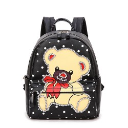 Hot Street Cute Bear Pattern Diamond Rivet Travel Backpack