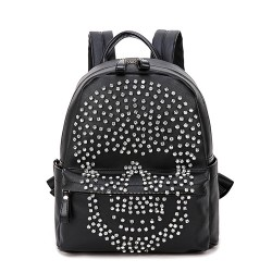 Fashion Punk Original Diamond Rivet Skull Black Satchel Backpack