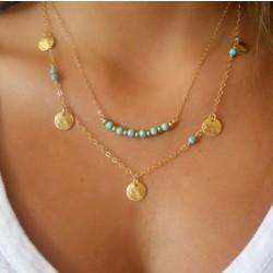 Round Bead Turquoise Pendant Double Necklace