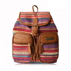 Fresh Folk Striped Satchel School Bag Canvas Backpack