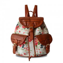 Fresh Floral Printed With Leather Hollow Out Backpack