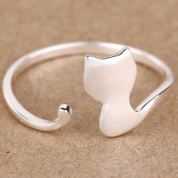 Lovely Cat Silver Rings Kitten Animal Adjustable Open Ring