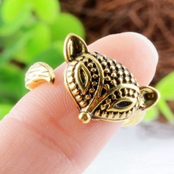 Carving Tribal Fox Animals Ring Open Adjustable Female Ring