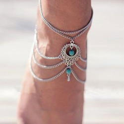 Retro Folk Hollow Turquoise Drop Anklet Foot Jewelry