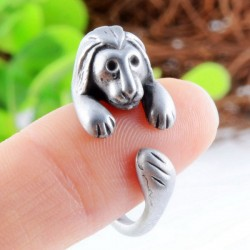 Animals Ring Forest's King Cute Lion Retro Silver Adjustable Wrap Ring