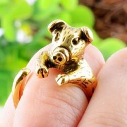 Animals Ring Lovely Piggy Golden Opening Ring