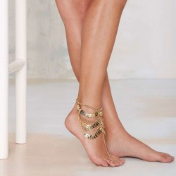 Retro Hyperbole Gold Leaf Multi-Chain Tassels Anklet Foot Jewelry