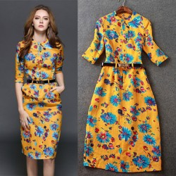 Fashion Floral Flower Printing Slim O-neck Elegant Linen Dress