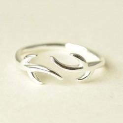 Silver Angle Elk Antlers Minimalism Adjustable Opening Ring