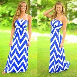 Geometry Stripe Printing Tube Top Dress
