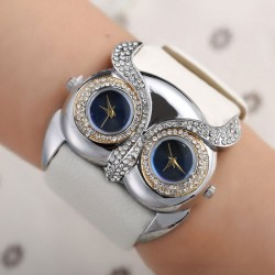 Cute Owl Inlay Diamond Double Dial Eyes Watch