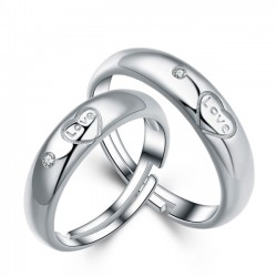 Romantic Lover Silver Ring Zircon Adjustable Size Couple Open Ring