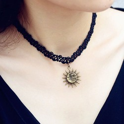Retro Clavicle Sun  Moon Pendant Weave Necklace