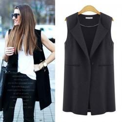 New Autumn Fashion Solid Brief Lapel Sleeveless One Buckle Waistcoat