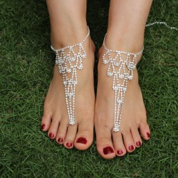 Rhinestone Heart Foot Jewelry Beach Barefoot Sandals Anklet