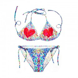 Sexy floral stitching Striped Printing Swimsuit Bathing Suit Padded Bra Swimwear