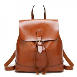 Elegant Simple PU School Bag Single Buckle Women Backpack