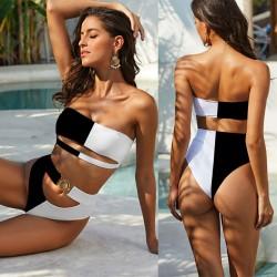 Sexy Metal Button Bandeau Bandage Summer Swimsuit Black White Mix Color Bikini