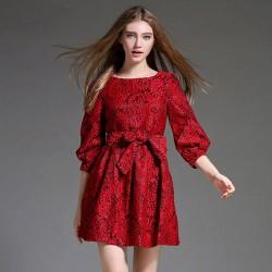 Vintage Lace Puff Sleeve Tutu Bow Belt O-neck Elegant Dress Gown Ball