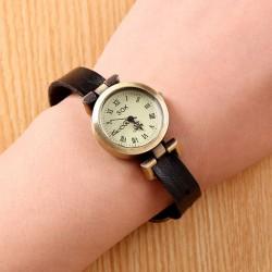 Retro Unicyclic Multicolor Choose Roman Numeral Cowhide Leather Girl Watch