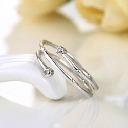 Bamboo Inlay Zircon Stylish Adjustable Silver Opening Spiral Ring