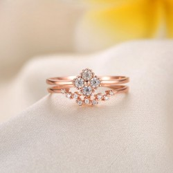 Rose Gold Diamond Clover Opening Adjustable Silver Double Circle Ring