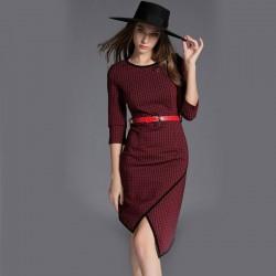 Stylish Brief Slim O-neck Lattice Asymmetrical Hem Dress