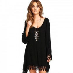 Leisure Long Sleeves Splicing Tassel Chiffon Black Loose Dress